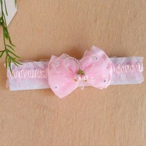 Girl's Pink Lace Bow Headband